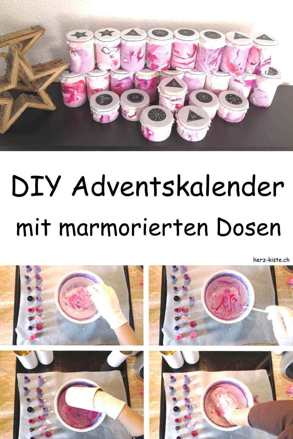 DIY Adventskalender mit marmorierten Dosen ganz einfach und günstig selber machen