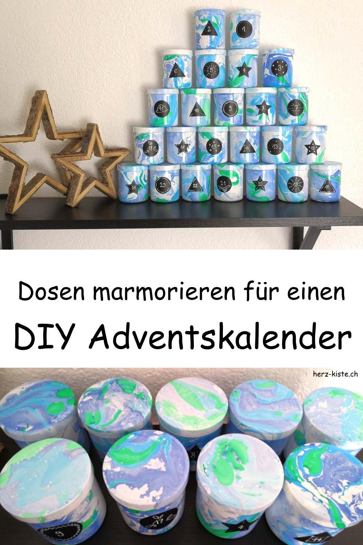 Dosen marmorieren für einen DIY Adventskalender - Freude schenken zu Weihnachten