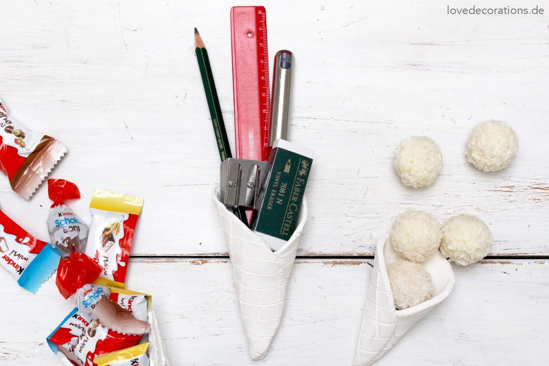 Eiswaffeln aus Fimo als Verpackungsmöglichkeit für kleine Geschenke