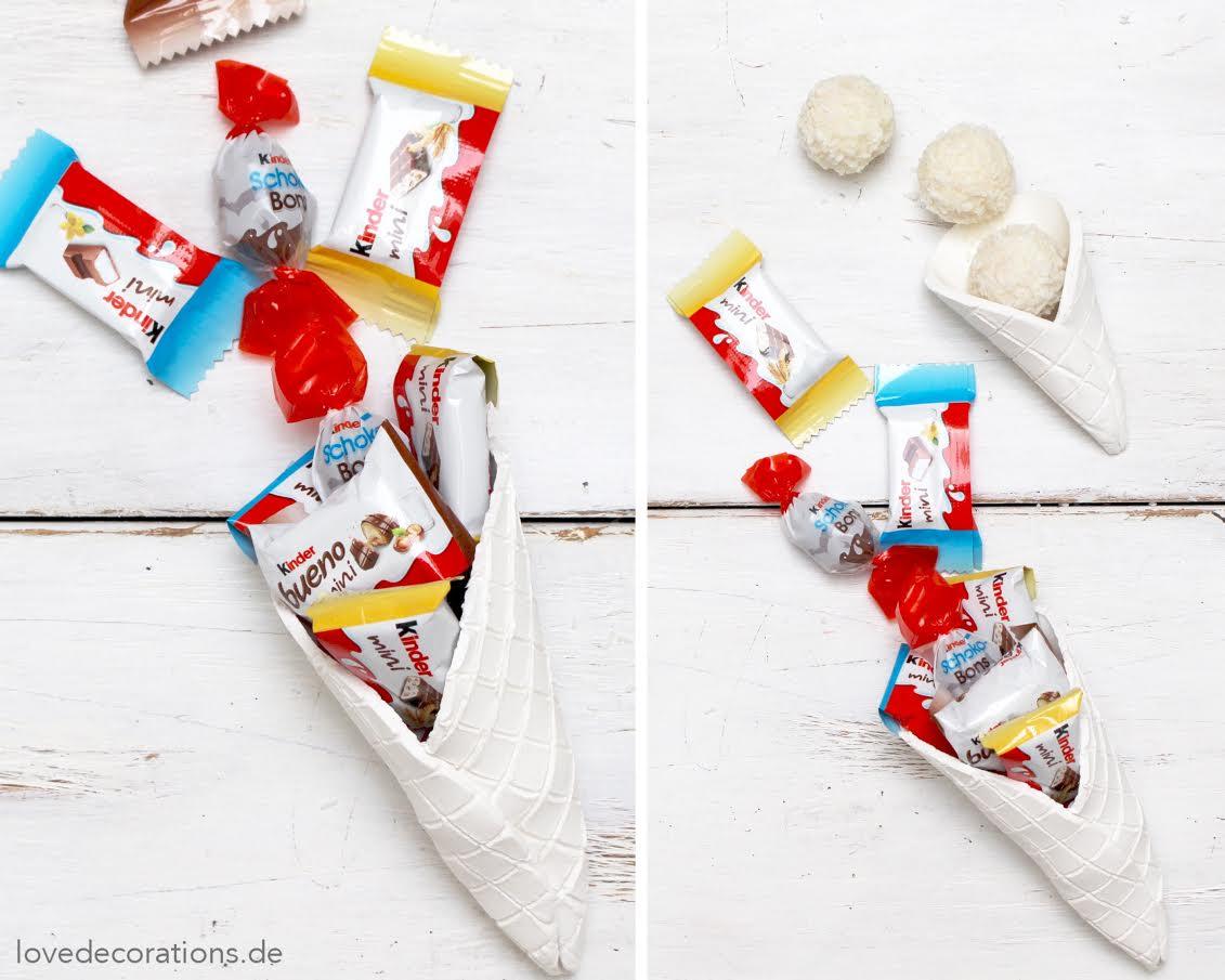 Eiswaffeln aus Fimo selbstgemacht mit kleinen Geschenken