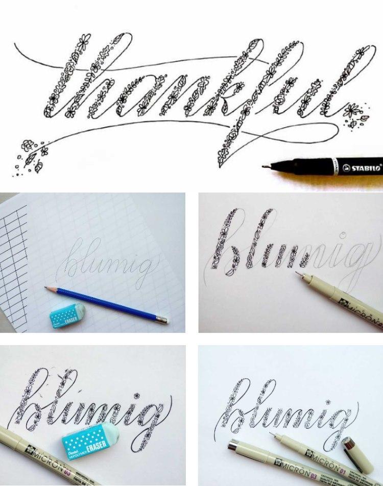 Schritt für Schritt Bilder für Faux Calligraphy Lettering mit Blumen