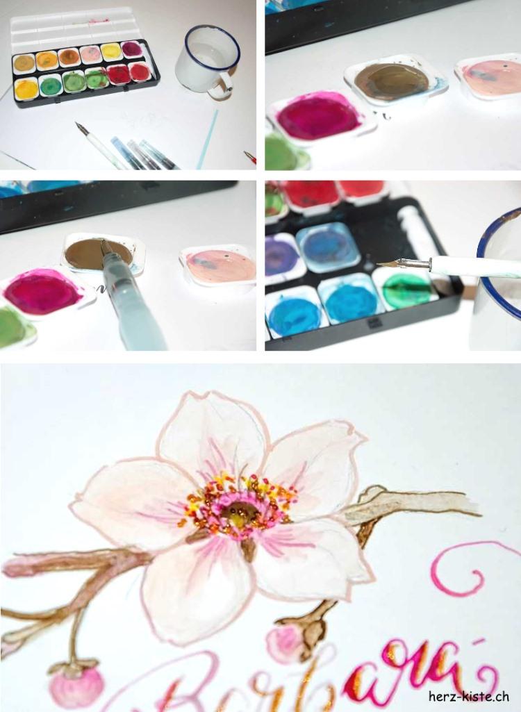 Bilderanleitung um mit Wasserfarben und Feder zu lettern und malen