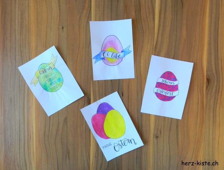 bunte Osterkarten - gratis Download zum selber ausmalen