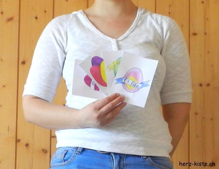 geletterte Karten zu Ostern - gratis Download