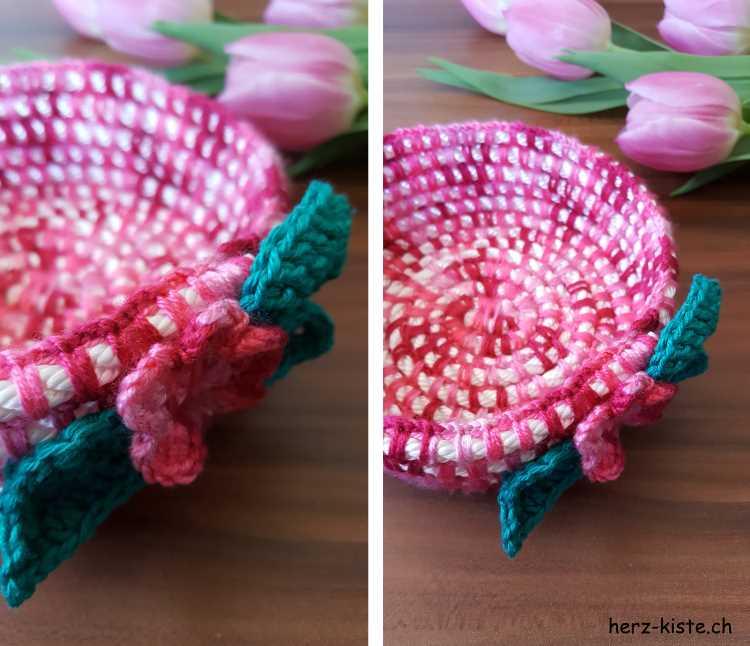 DIY Häkelkorb mit verschiedenfarbiger Wolle und einer Häkelblume