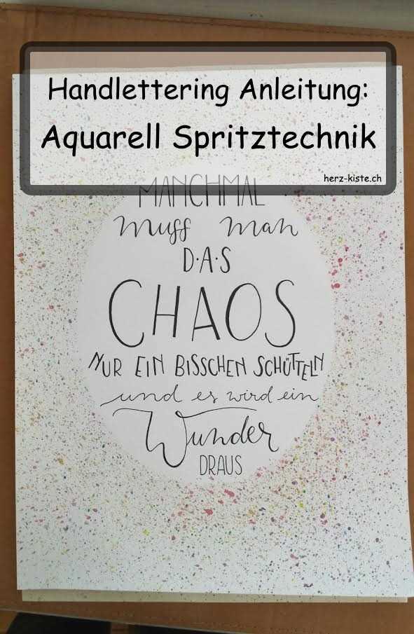 Handlettering Anleitung: Aquarell Spritztechnik