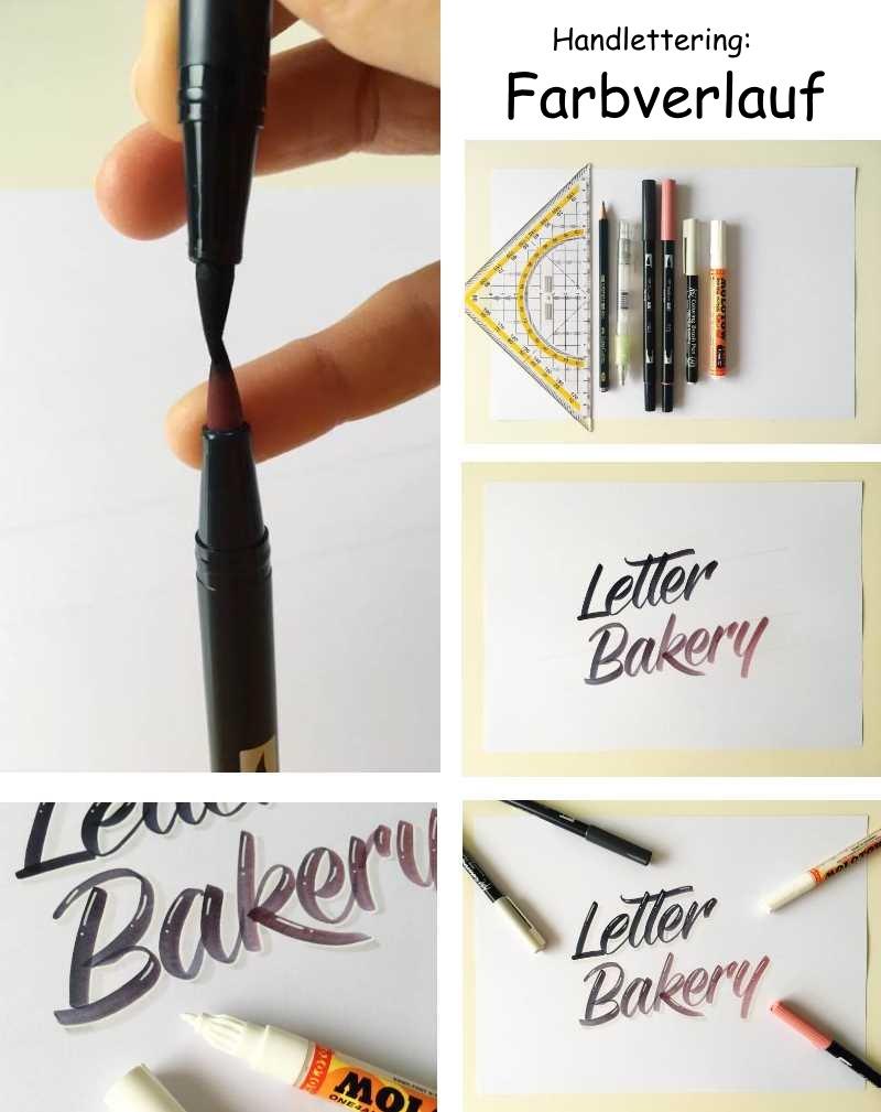 bebilderte Schritt für Schritt Anleitung für einen Handlettering Farbverlauf