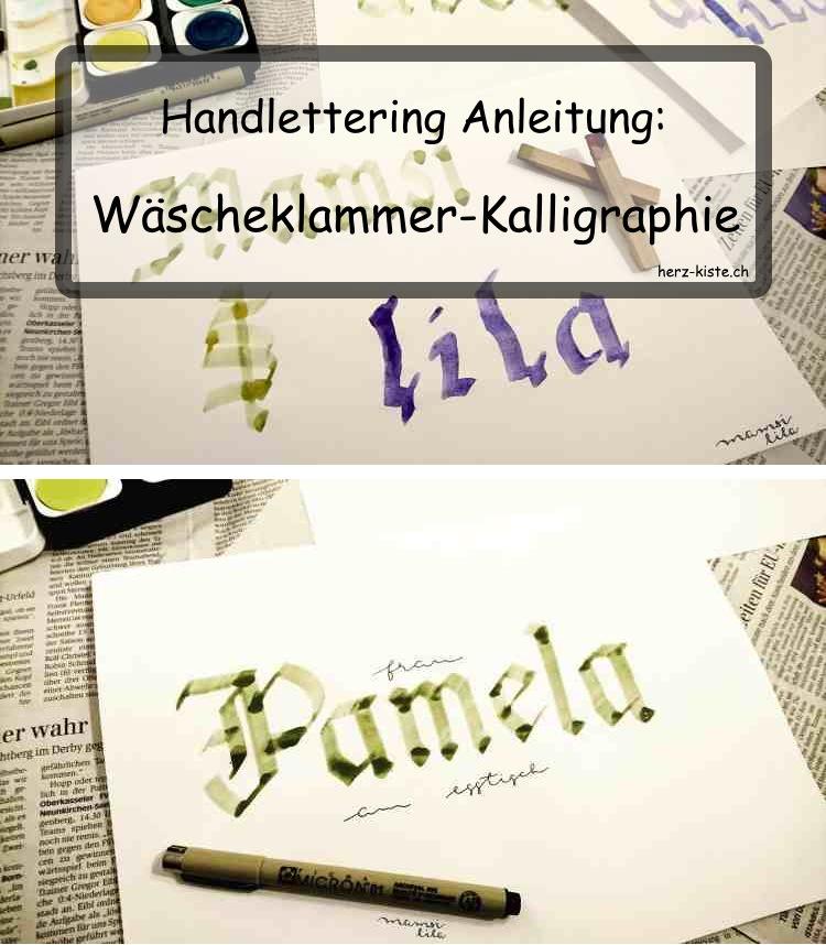 Handlettering Anleitung: Wäscheklammer Kalligrafie - ohne teure Materialien