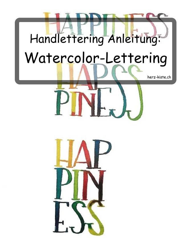 farbiges Watercolor Lettering Happiness
