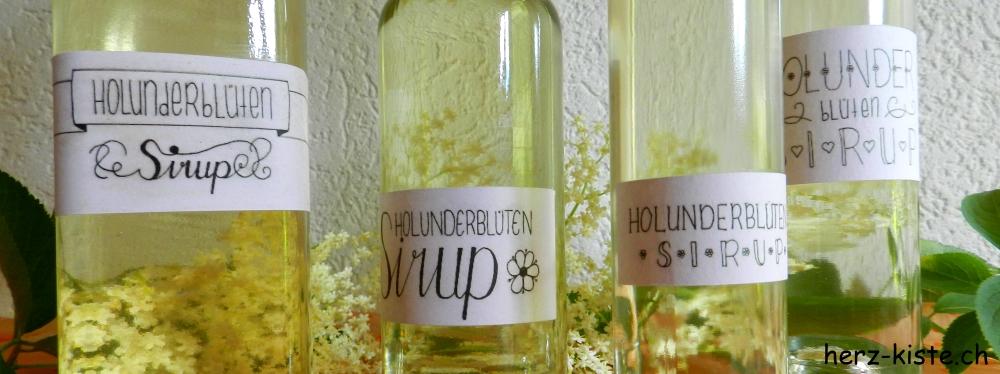 Gratis Etiketten zum Download von Holunderblüten Sirup mit Handlettering