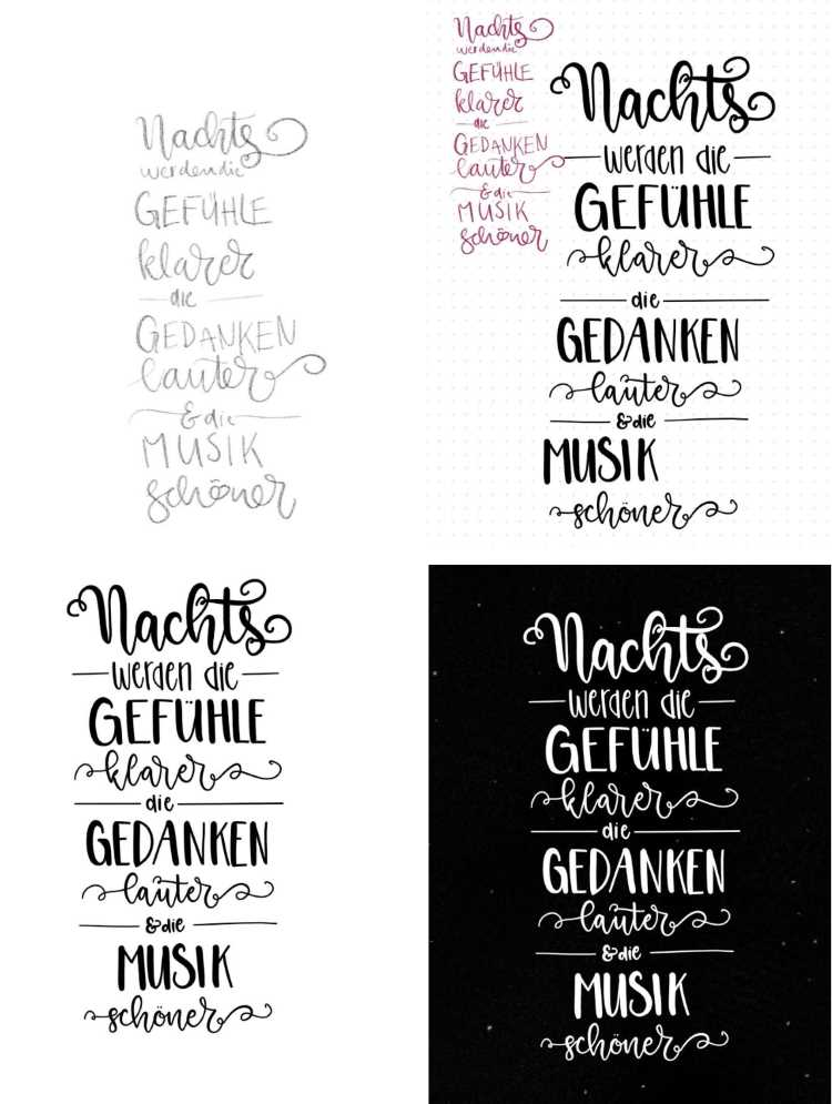 Collage eines Lettering Layouts