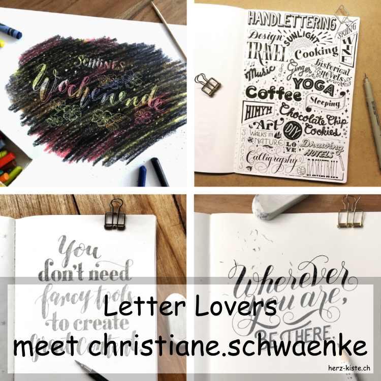 Zusammenstellung mehrerer Letterings von Christiane Schwaenke im Letter Lovers Interview