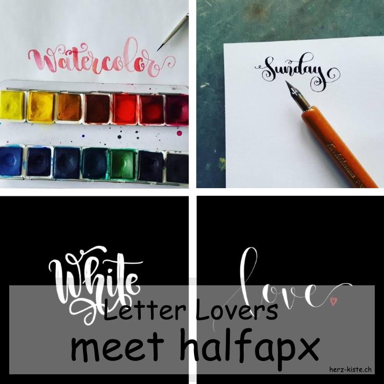 Zusammenstellung mehrerer Letterings von halfapx für den Interview Beitrag der Letter Lovers