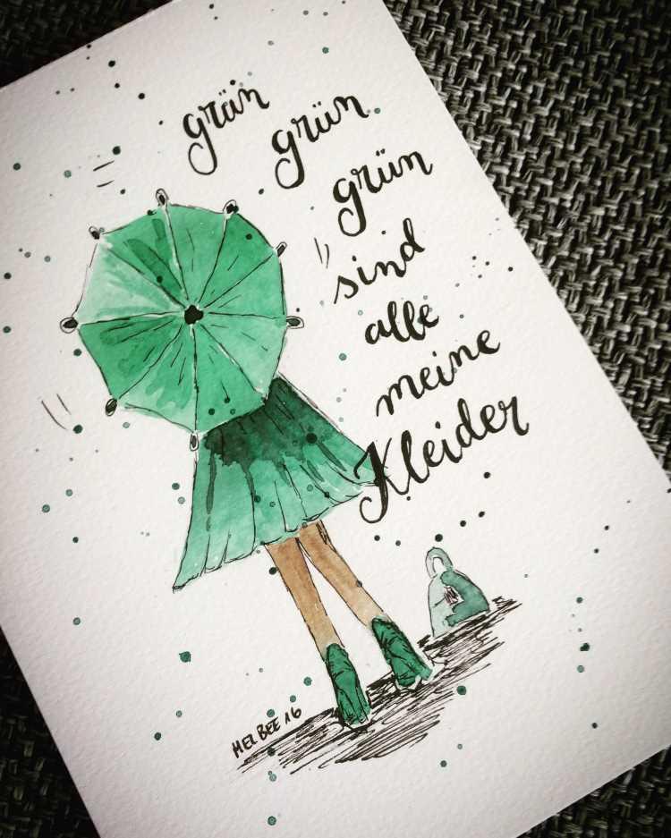 Mädchen von Hinten mit einem Regenschirm - Aquarellbild mit Lettering