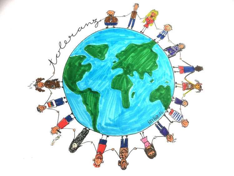 Bild gemalt - viele Menschen um eine Weltkugel