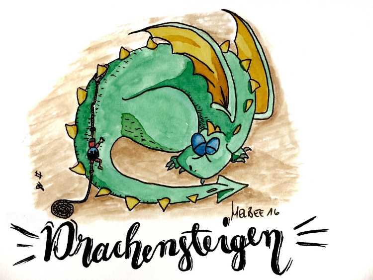 Drachensteigen - Handlettering mit einem gemalten Aquarelldrachen