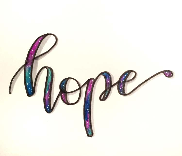 hope - Handlettering mit Faux Calligraphy im Galaxy Stil