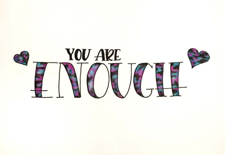 you are Enough - Handlettering Buchstaben im Galaxy Stil