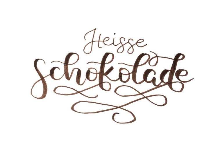 heisse Schokolade - Lettering mit Schnörkeln