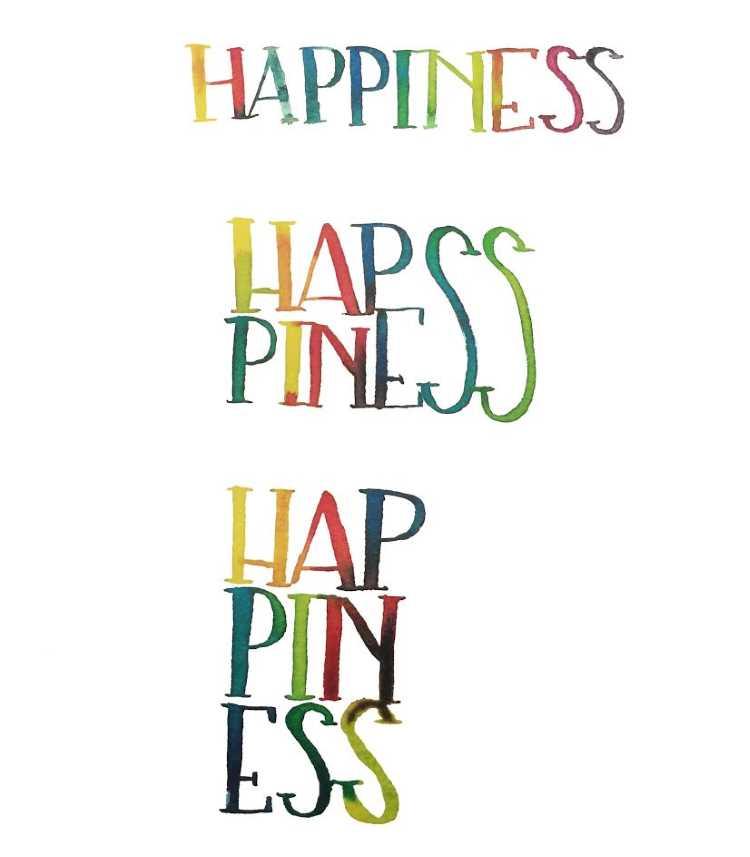 happiness - drei mal das selbe Wort mit Watercolor gelettert