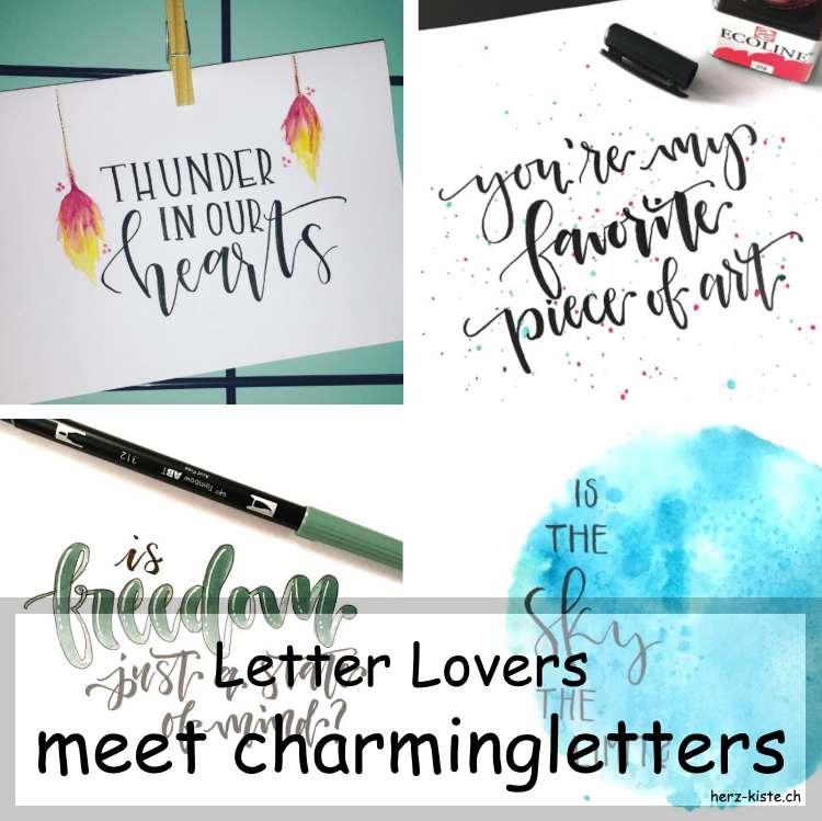 Zusammenstellung verschiedener Letterings von charmingletters als Titelbild zum Letter Lovers Interview