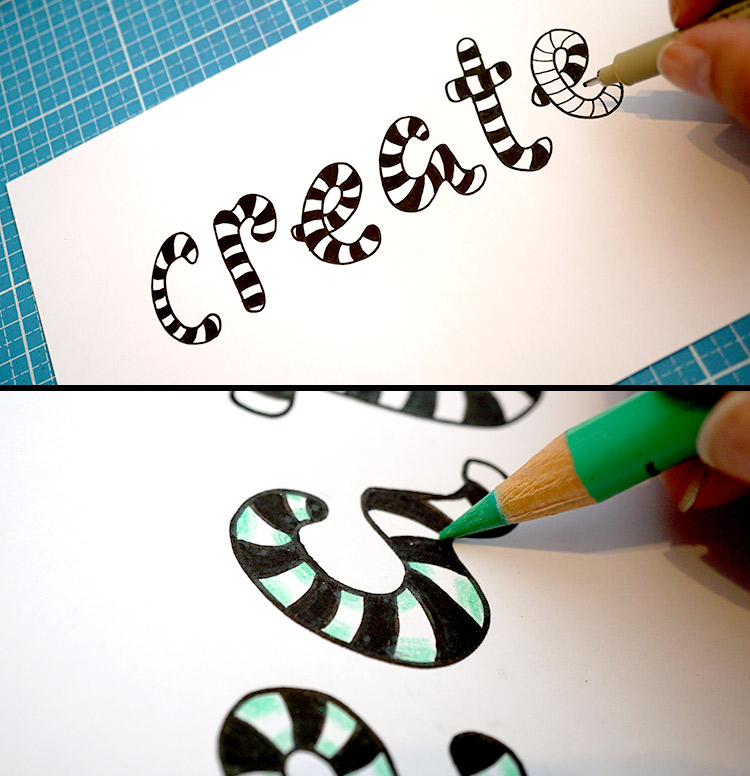 create - Lettering mit Zebra Muster