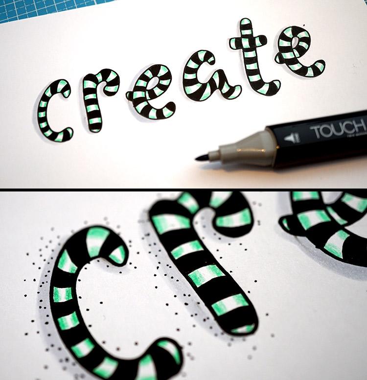 create - Lettering mit Punkten und Schatten