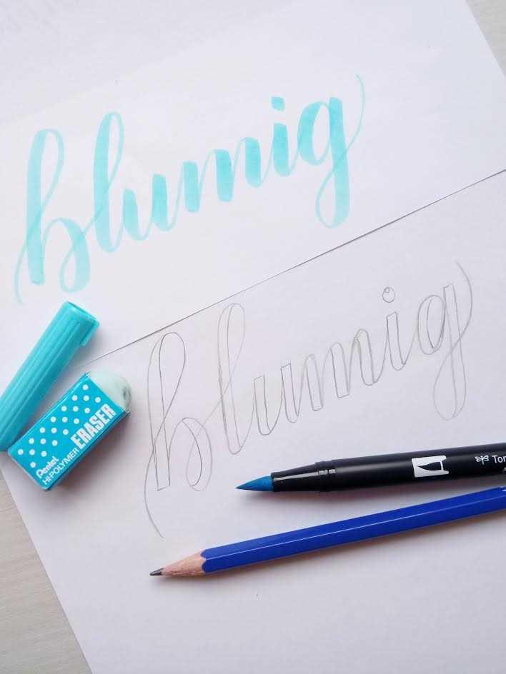 Faux Calligraphy Wort adaptieren von einem Brushlettering
