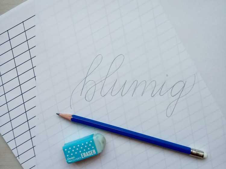 blumig - vorschreiben mit Bleistift