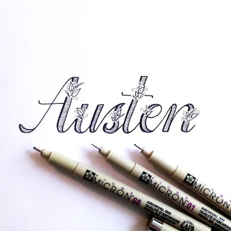 Austen - Lettering in Faux Calligraphy mit Verzierungen