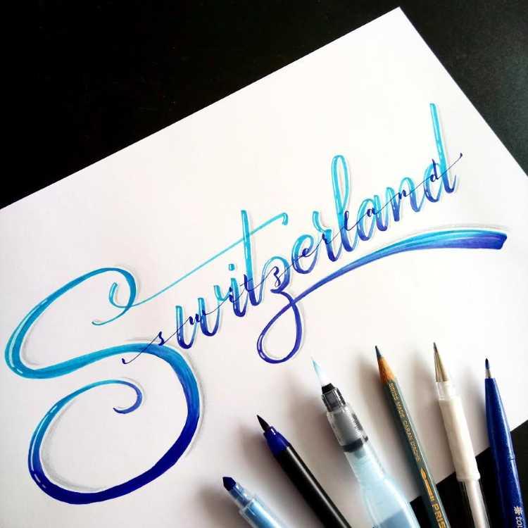 Switzerland - Handlettering mit Blending in Blau