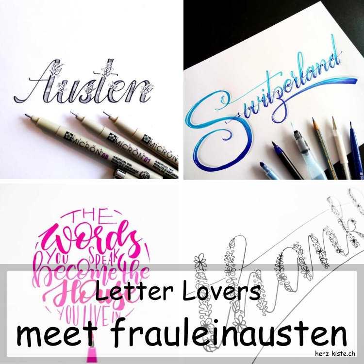 Collage mehrerer Letterings von frauleinausten als Titelbild fürs Interview der Letter Lovers