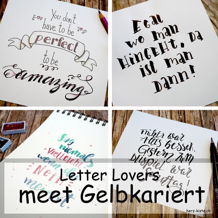 Collage mehrerer Letterings von gelbkariert