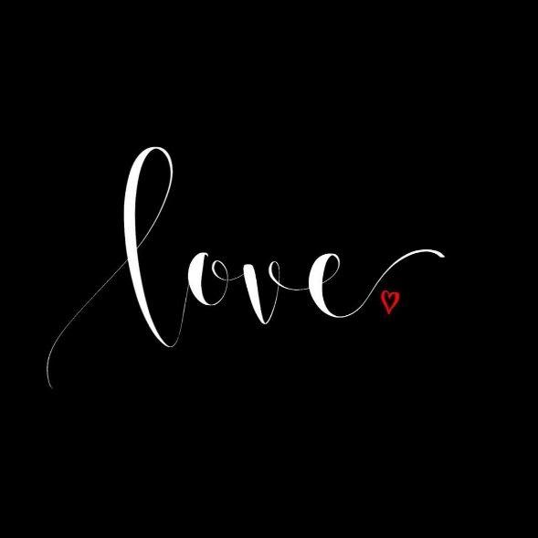 love - weisses Lettering auf schwarz