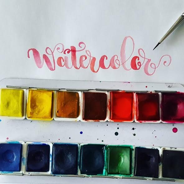 Watercolor Lettering in rot