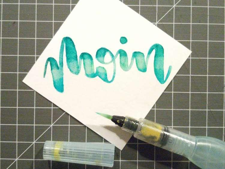 moin - Handlettering mit einem Blending Verlauf