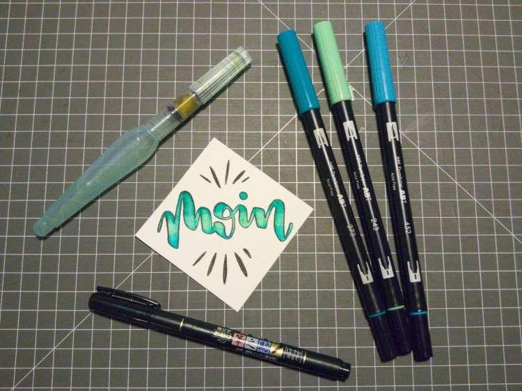 moin - Brushlettering mit einem Farbverlauf Blending