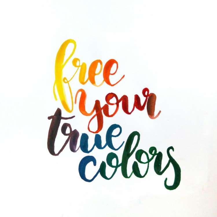 Brushlettering in verschiedenen Farben: free your true colors