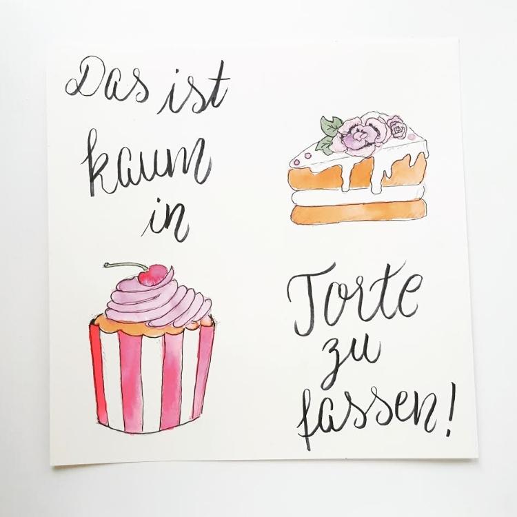 Handlettering mit gemalten Kuchen - das ist kaum in Torte zu fassen