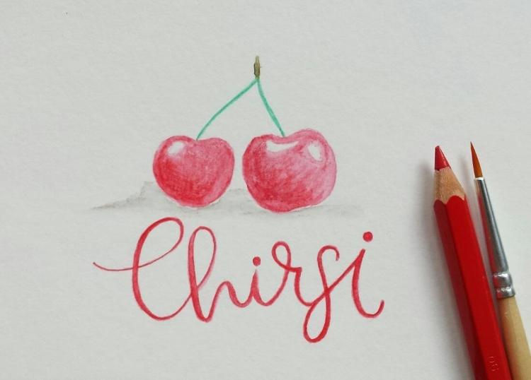 Chirsi - Handlettering mit Kirschen gemalt