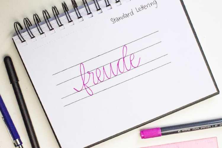 freude - Standard Lettering mit Hilfslinien