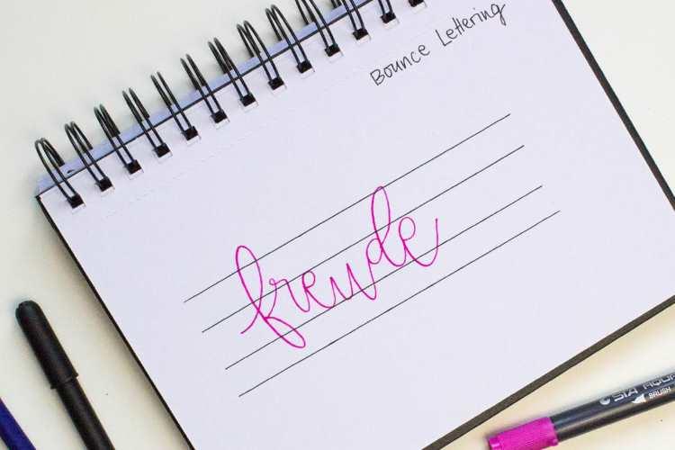 Bounce Lettering mit Hilfslinien - anhand vom Wort freude als Beispiel