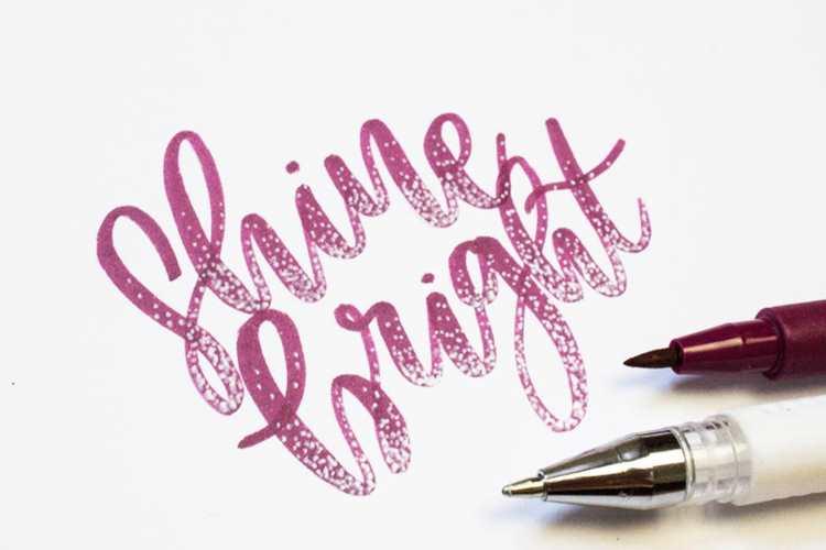 Shine bright - Brushlettering mit weissen Punkten