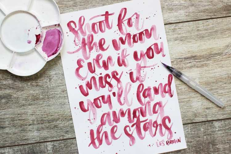 Rotes brushlettering - Spruch