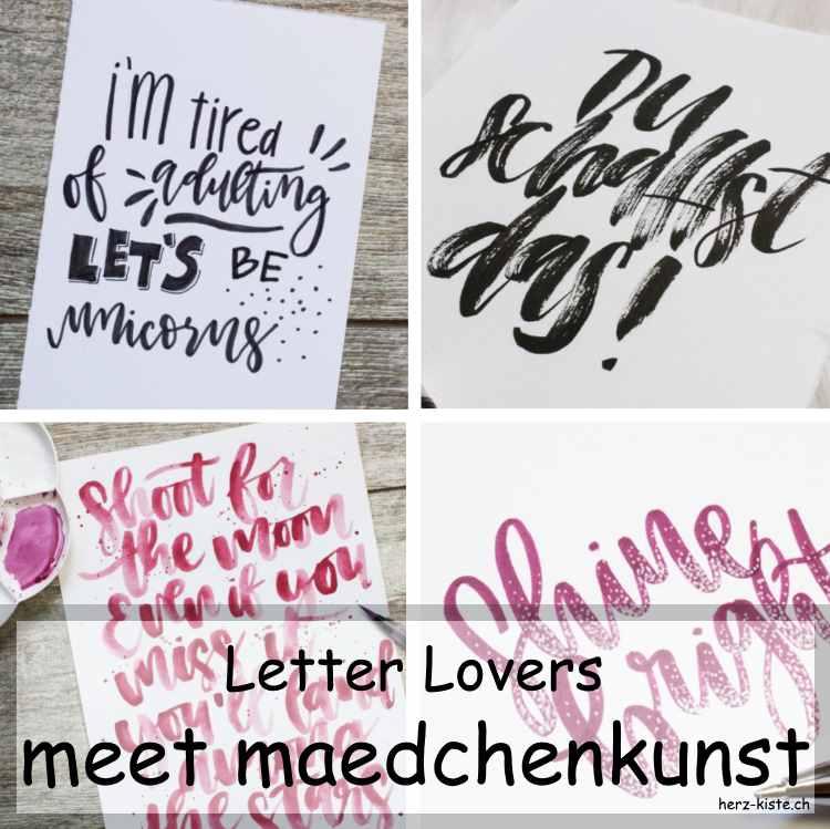 Zusammenstellung mehrerer Letterings von maedchenkunst als Titelbild für das Letter Lovers Interview