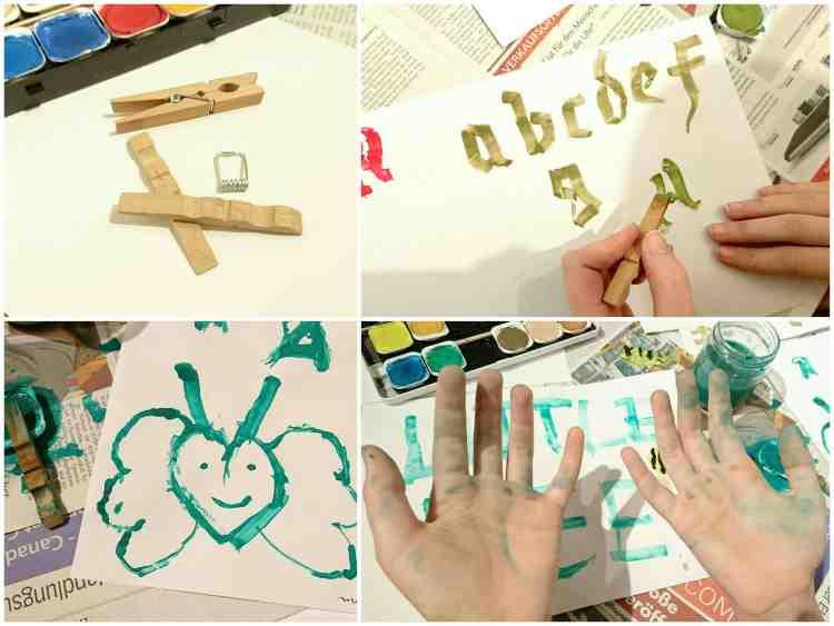 Bilder vom kalligrafieren mit einer Holz-Wäscheklammer