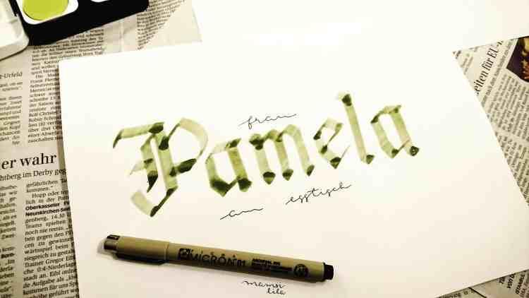 Kalligrafie mit einer Wäscheklammer - Pamela