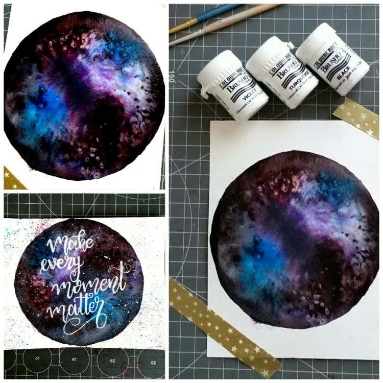 Galaxy Mond mit Brushos gestaltet
