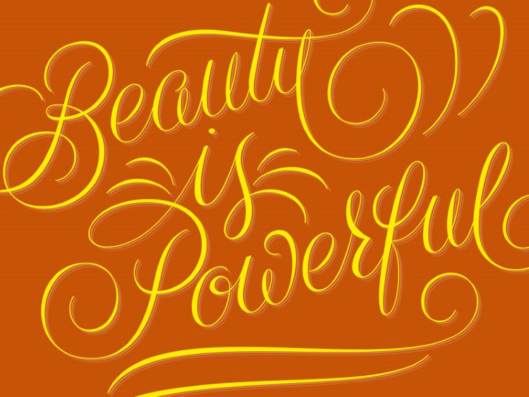 Brushlettering Spruch: beuty is powerful