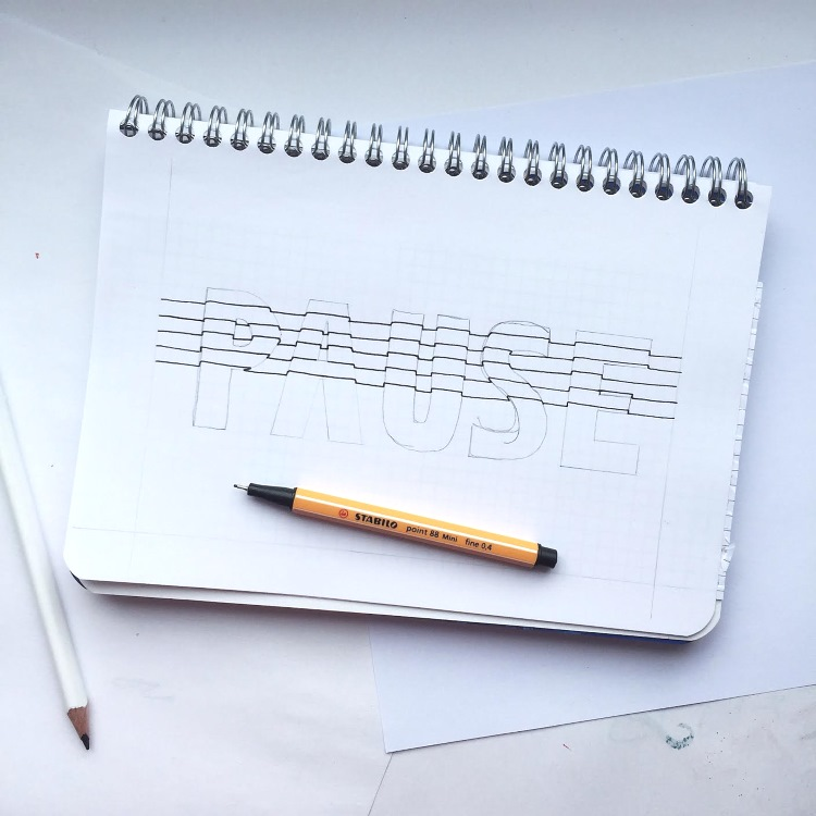 Schritt für Schritt Anleitung 3D Lines Lettering